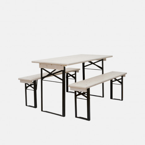Pack table et bancs Berlin blanc 164 cm