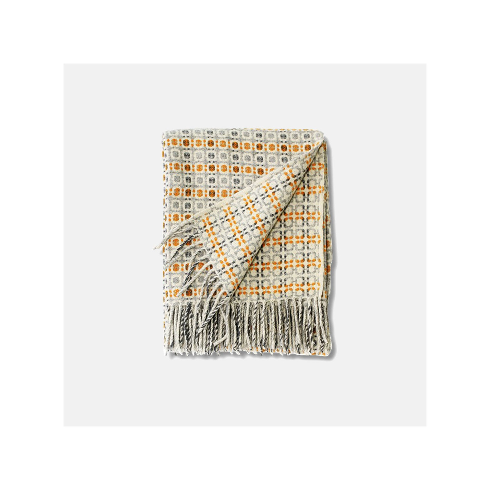 Plaid Bulles gris/ocre